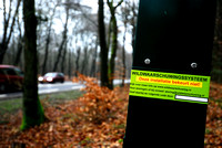 Animal detection system LED SICK WS WE 45 at a gap in a wildlife fence near Harderwijk, The Netherland