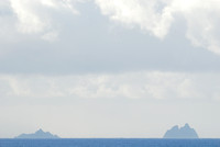 Little Skellig and Great Skellig (Skellig Michael) island from across Dingle Bay, Ireland