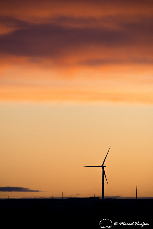 Wind turbines at sunrise on the great plains, Montana, USA