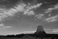 Devils Tower National Monument with moon, in infrared, Wyoming,