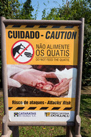 Warning signs, do not feed the South American coati, Foz do Igua