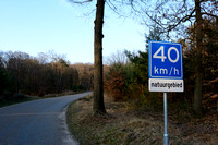Advisory speed limit reduction to 40 km per hour on road through a nature reserve, Hoog Soeren, The Netherlands