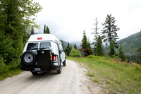 Our Ford E350 4x4 camper van on dirt road, Elk meadows loop road