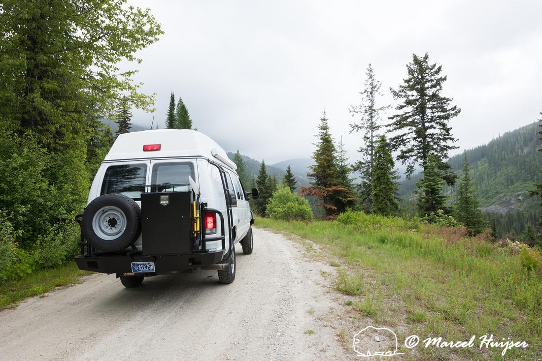 Our Ford E350 4x4 camper van on dirt road, Elk meadows loop road