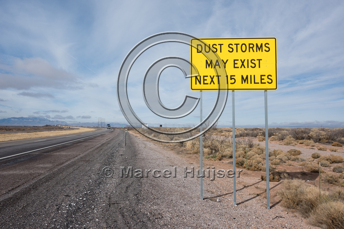 Warning sign, dust storms may exist next 15 miles, New Mexico, U