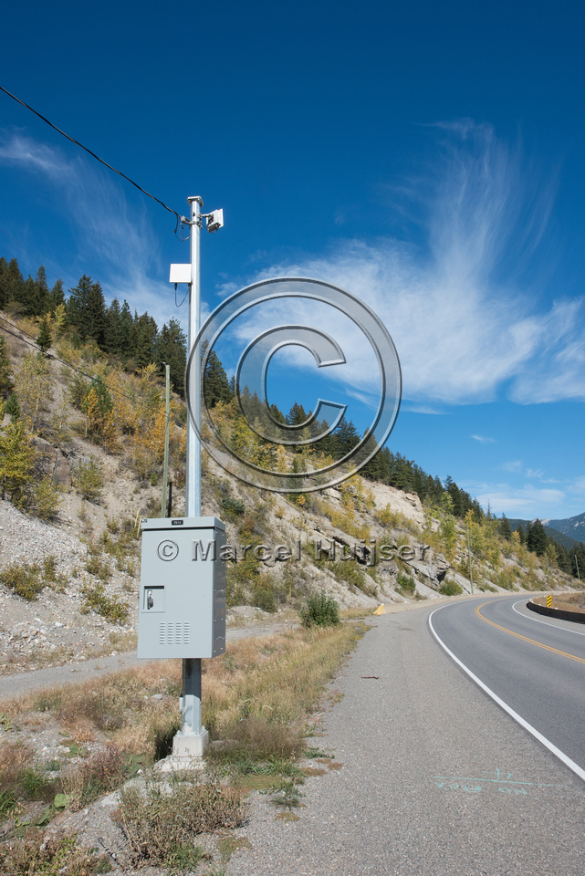 Warning sign animal detection system, near Elko, British Columbi