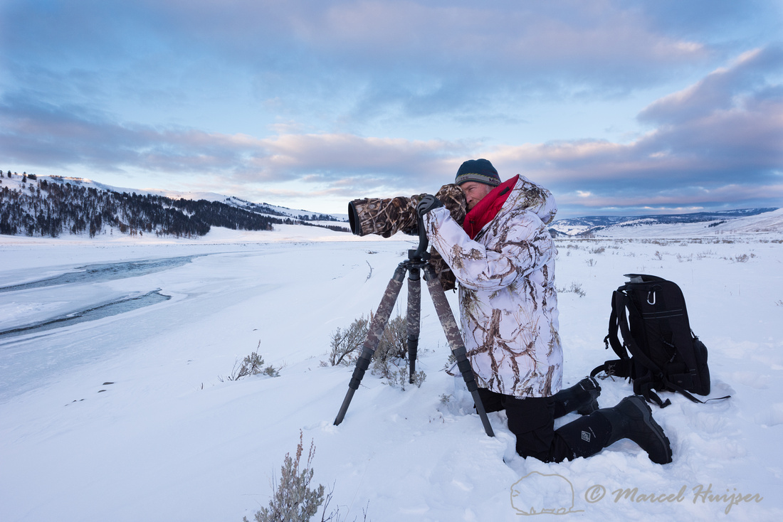 Marcel Huijser photographing river otters